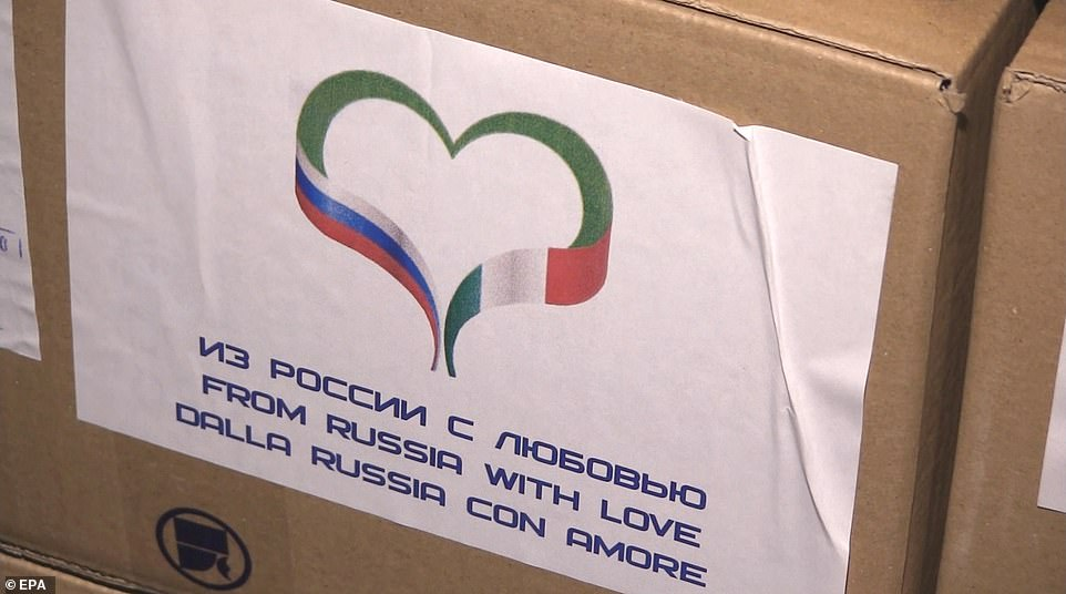 Russia also sent supplies to Italy in boxes labeled