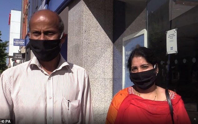 Venkata Reddy Nallamilli, 59, and wife Padma, 48, said they did not think people had been following social distancing advice since lockdown restrictions had been eased