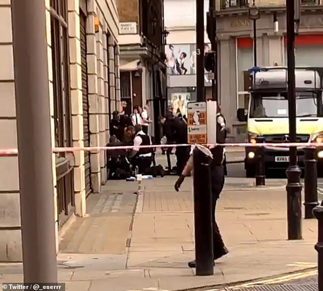 Three arrests have been made following the incident and the street was closed to traffic at the junction of Great Portland Street
