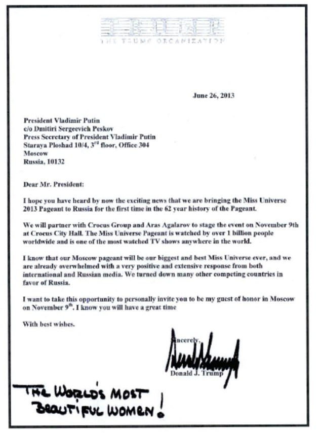 A June 2013 letter from Donald Trump invited Russian President Vladimir Putin to attend the Miss Universe pageant in Moscow. Trump added a message about