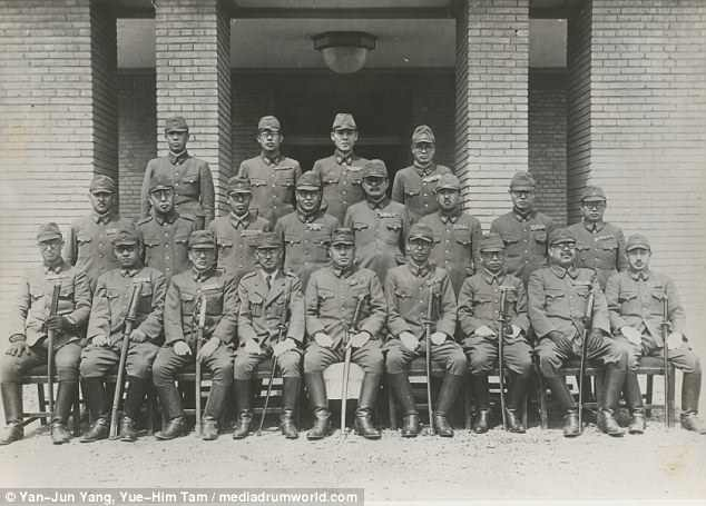 Unit of torture: The senior officers of Unit 731 are pictured during World War II