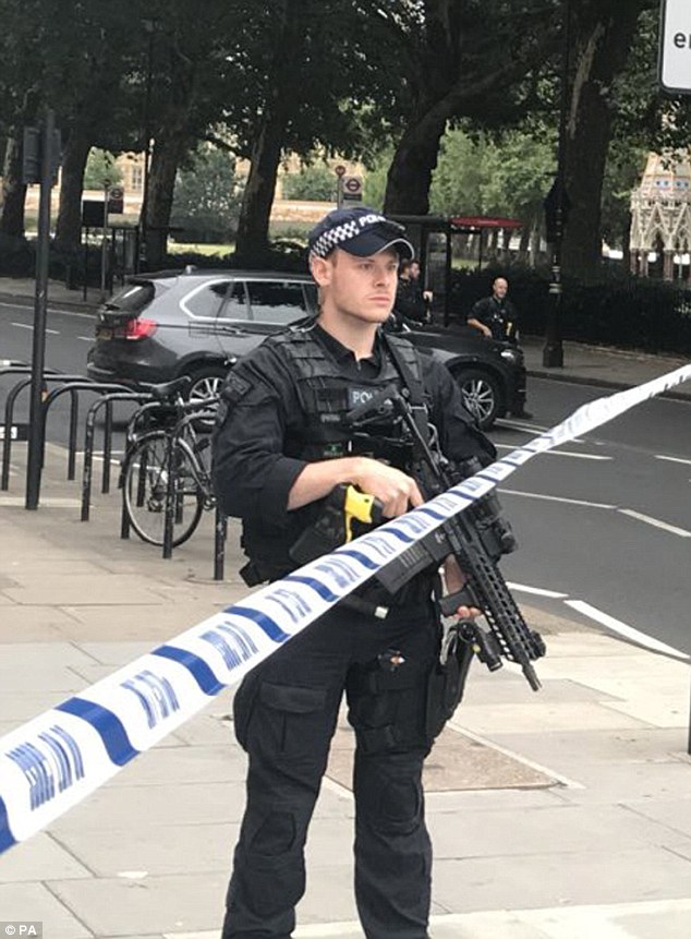 A police officer guarding after the area around the Houses of Parliament after a man allegedly targeted cyclists and police officers