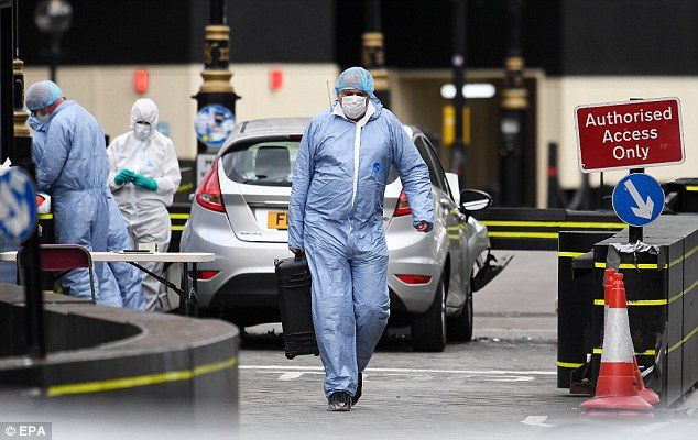 Forensics officers in front of the vehicle that crashed outside the Houses of Parliament