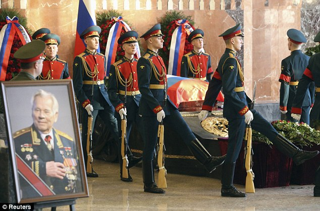 Mikhail Kalashnikov, chief designer of AK-47, was today laid to rest in December with full state honours in Mytischi outside Moscow