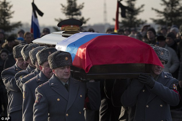 Honor guard officers carry the coffin bearing the body of Russian firearm designer Mikhail Kalashnikov