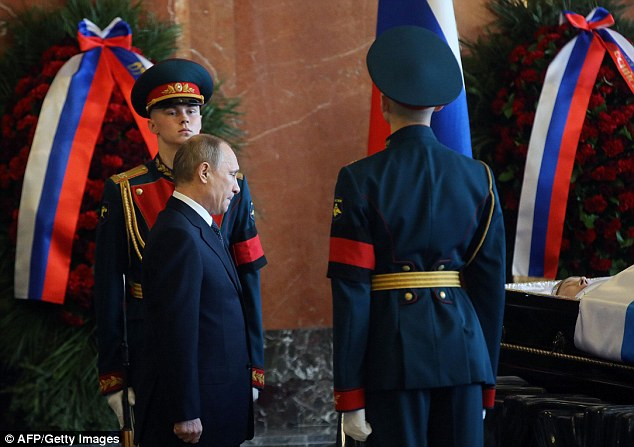 Russian President Vladimir Putin was among the mourners at the funeral of Kalashnikov, who died on December 23