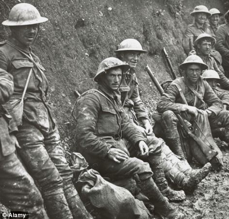 Soldiers at The Battle of Somme 1916, one of the largest battles of the First World War, France