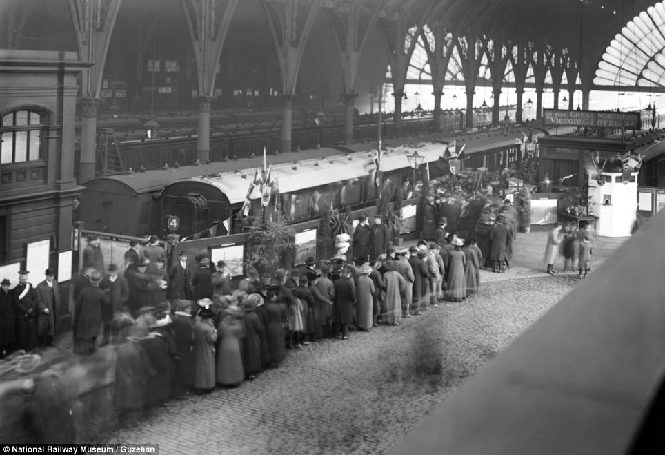 Trains transported troops through northern France before others brought them to hospitals from ports in Dover and Southampton. This photo shows members of the public waiting to view a touring ambulance train at an exhibition at Bradford Exchange station in 1916