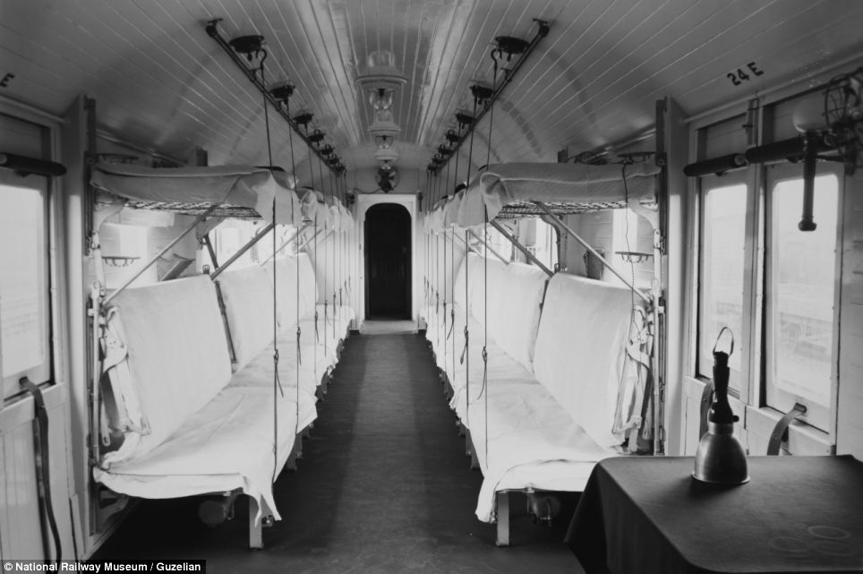 The trains could accommodate about 400 lying and sitting patients, in addition to the medical personnel and train crew