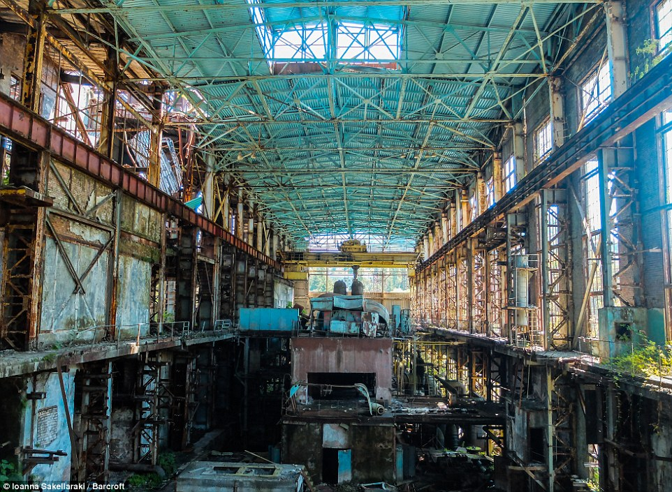 Eerie photographs show how many cities in the disputed region of Abkhazia, on the eastern coast of the Black Sea, have been abandoned and left to fall into a state of disrepair. This image shows a disused factory in Tkvarcheli