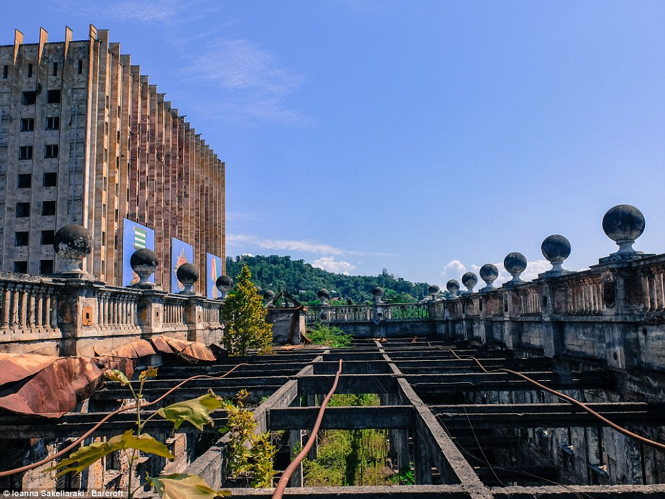 This image shows a different view of the  former government building in Sukhumi, Abkhazia. The state has been in a state of turmoil since a 1992 to 1993 war with Georgia which resulted in the deaths of thousands of people as well as economic issues stemming from the sanctions placed on Abkhazia