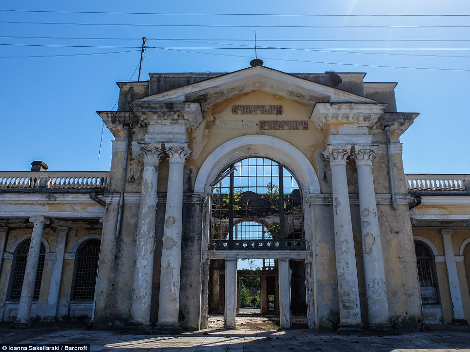 Letters have fallen off the entrance of the abandoned train station in Ochamchire, Abkhazia. After the end of the conflict in 1993, Georgia made military attempts to take Abkhazia back in 1998 and 2001, especially after the Russo-Georgian war that took place in August 2008
