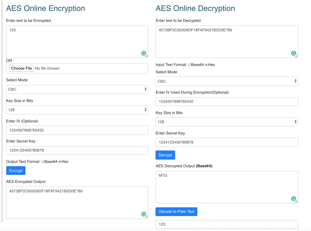 aes-online-encryption-sample-screenshot