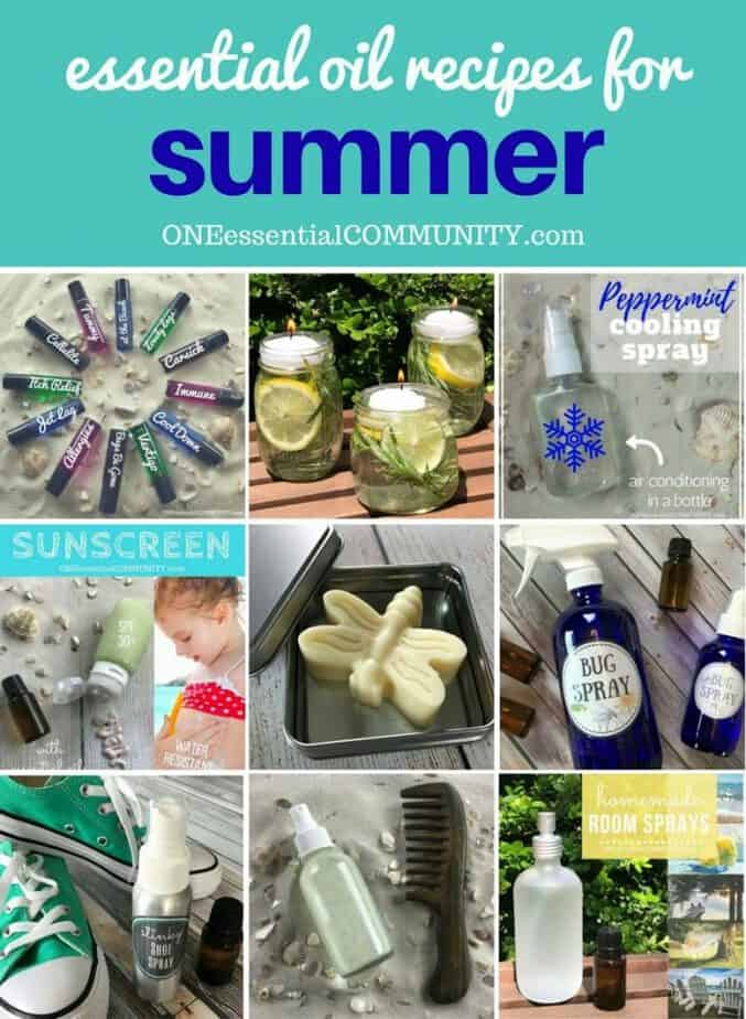 40 favorite essential oil recipes for summer - homemade sunscreen, after-sun spray, cooling spray, DIY deodorant, diffuser blends, summer room sprays, rollerball recipes, bug spray, essential oils for travel, and more. Lots of easy summer essential oil recipes with step-by-step instructions and free printables. #essentialoilrecipes #essentialoilDIY #essentialoildiffuser #essentialoiluses