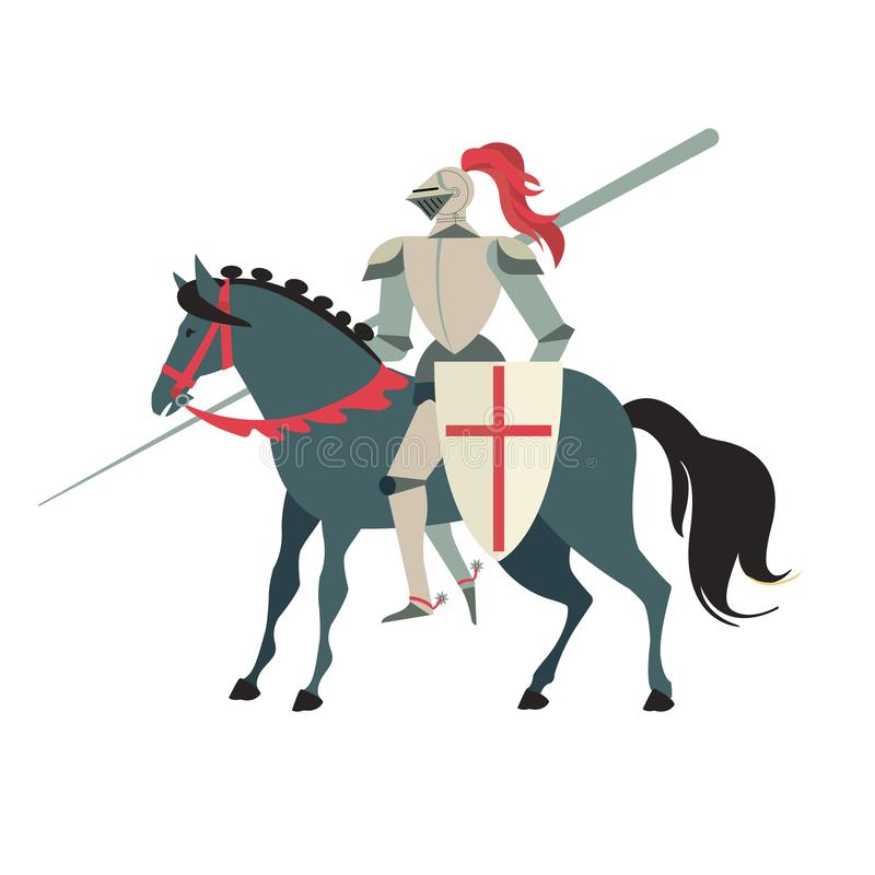 Armoured medieval knight riding on a horse with spear and shield. Flat illustration isolated on white background. Armoured medieval knight riding on a horse stock illustration