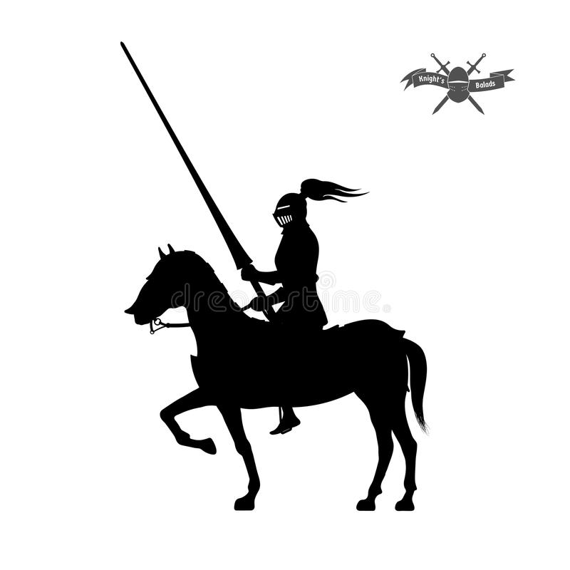 Black silhouette of knight on white background. Detailed image of rider with spear and armor. Logo of medieval tournament. Vector illustration stock illustration