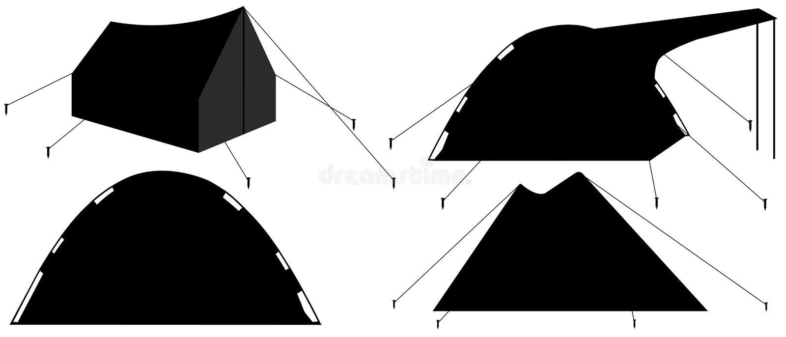 Camping tent silhouette. Tourist camp tents collection. Set Vector Illustration.  stock illustration
