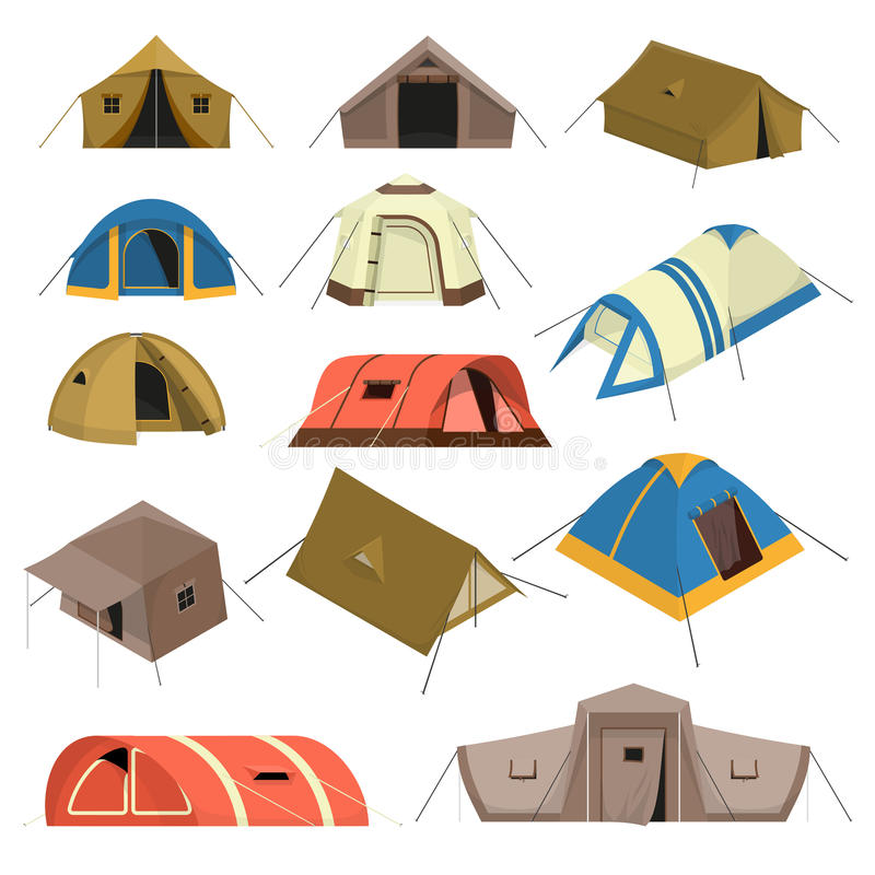 Colorful Tourist Tents Set. Set of colorful tourist tents of various design with canopy windows and rope isolated vector illustration stock illustration