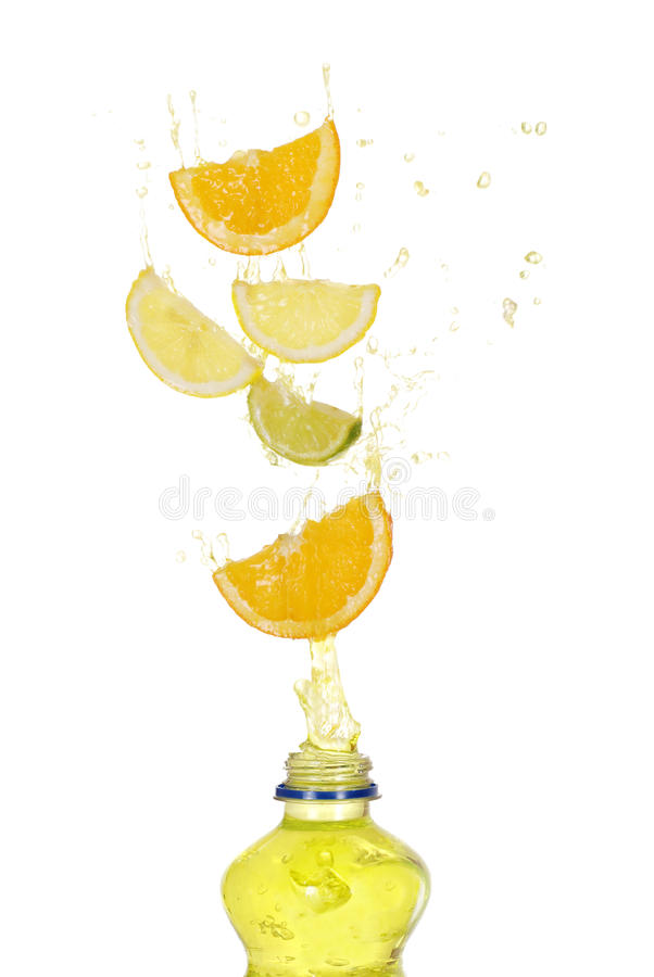 Fruit drink splash stock photos