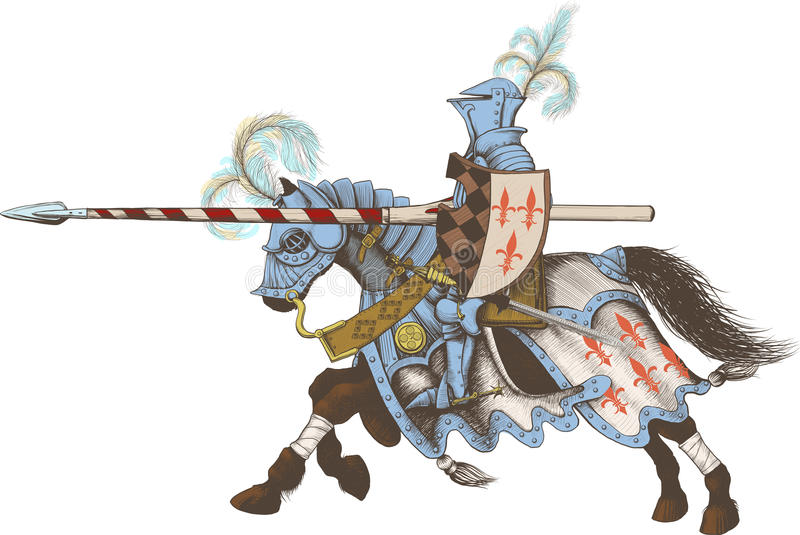 Horseback Knight of the tournament. With a spear at the ready galloping towards the opponent vector illustration