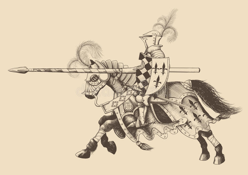 Horseback Knight of the tournament. With a spear at the ready galloping towards the opponent. engraving stock illustration