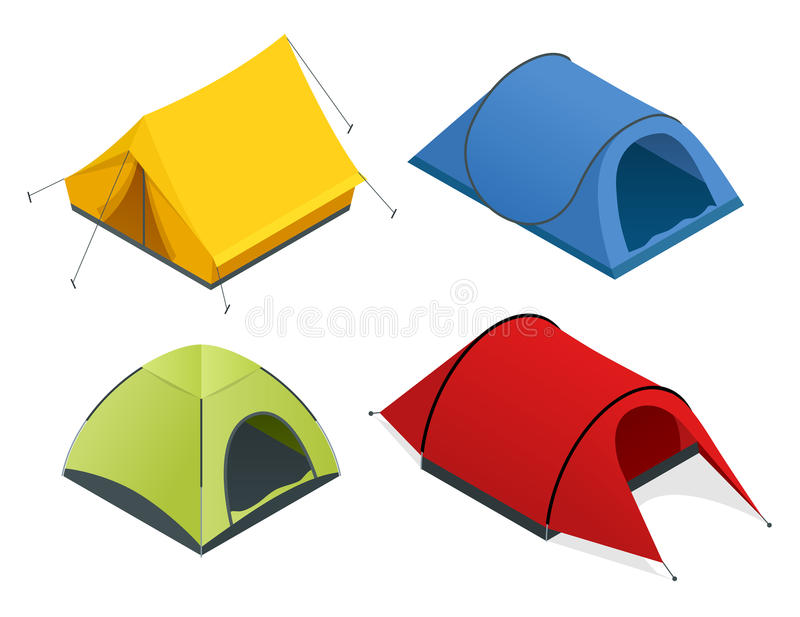 Isometric icon set of tourist tents. Flat 3d isometric illustration For infographics and design games. Isometric icon set of tourist tents. Flat 3d isometric stock illustration