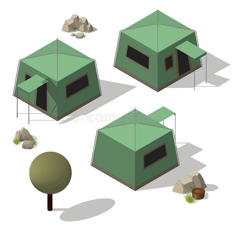 Isometric set of tourist tents. Isometric vector icon set of tourist tents. Flat 3d isometric illustration For infographics and design games royalty free illustration