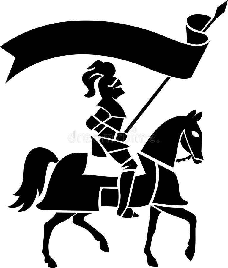 Knight on Horse with Banner/ai. Stylized illustration of a medieval knight in armor bearing a standard royalty free illustration