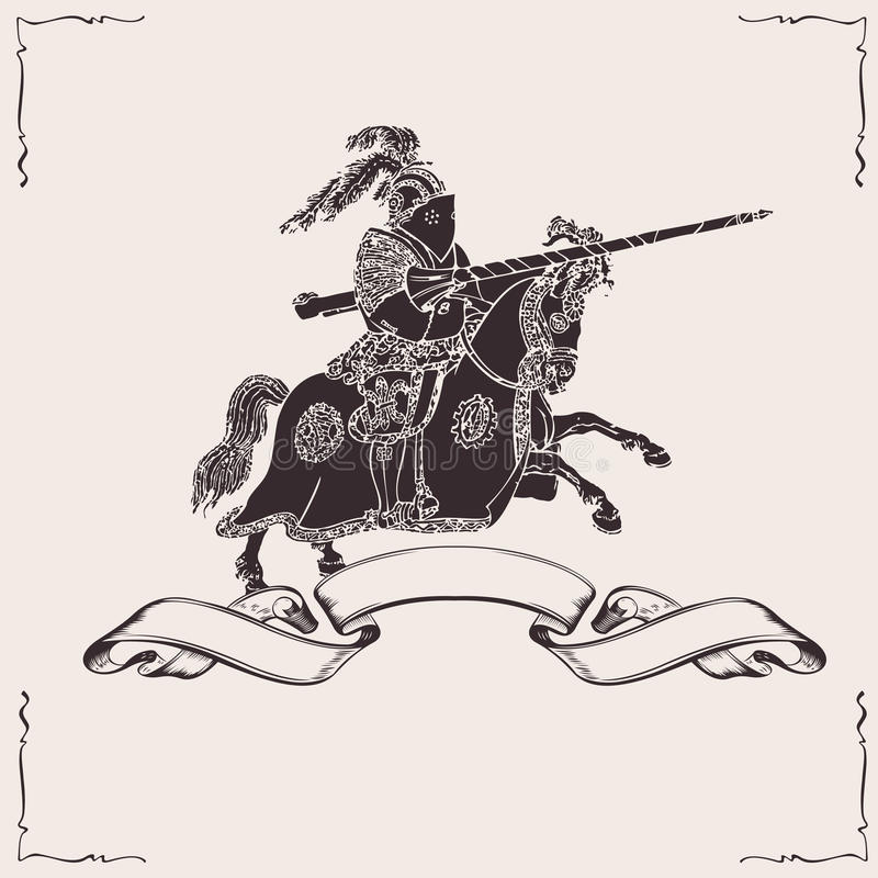 Knight on horseback. Black knight on horseback with spear fighting royalty free illustration