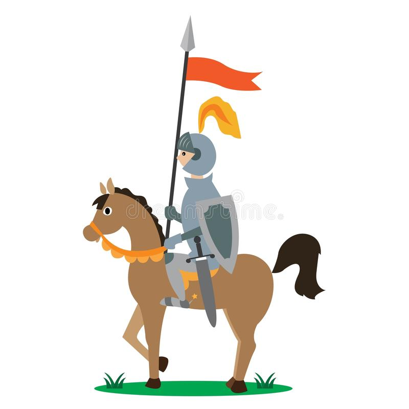 Knight on horseback with a spear. With a banner. vector illustration of cartoon vector illustration