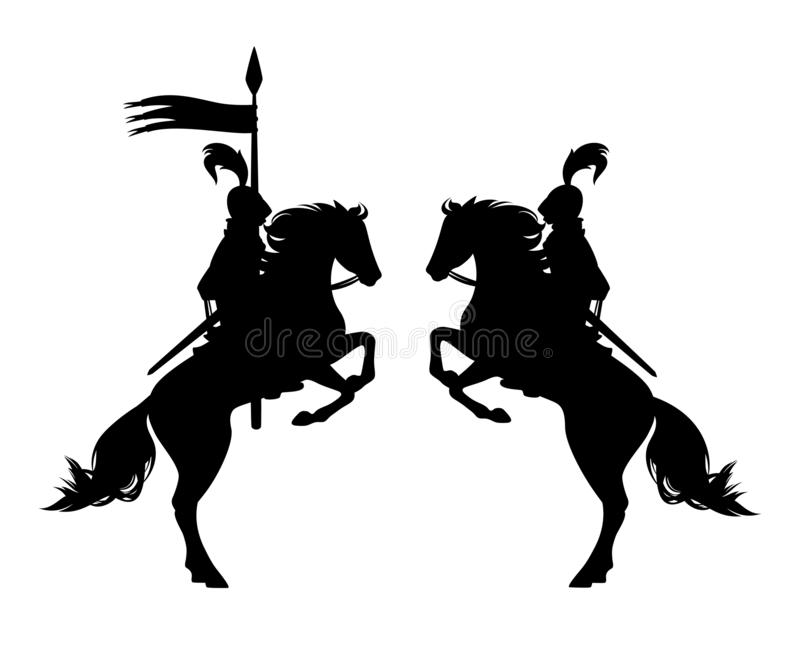 Knight riding rearing up hrse with banner spear black vector silhouette. Medieval knight riding horse holding banner spear - ancient horseback hero black vector vector illustration