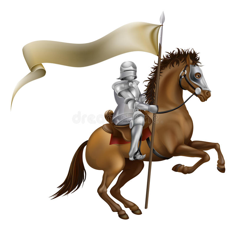 Knight with spear and banner. A knight with spear and banner mounted on a powerful horse stock illustration