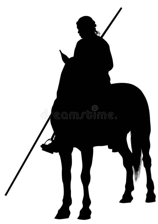Knight with a spear on horseback. Silhouette of a medieval knight with a spear on horseback stock illustration