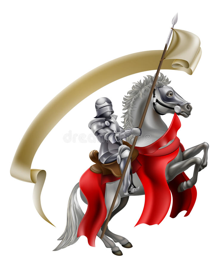 Medieval Spear Knight on Horse. A medieval knight in armour on the back of a rearing white horse holding a spear flag vector illustration