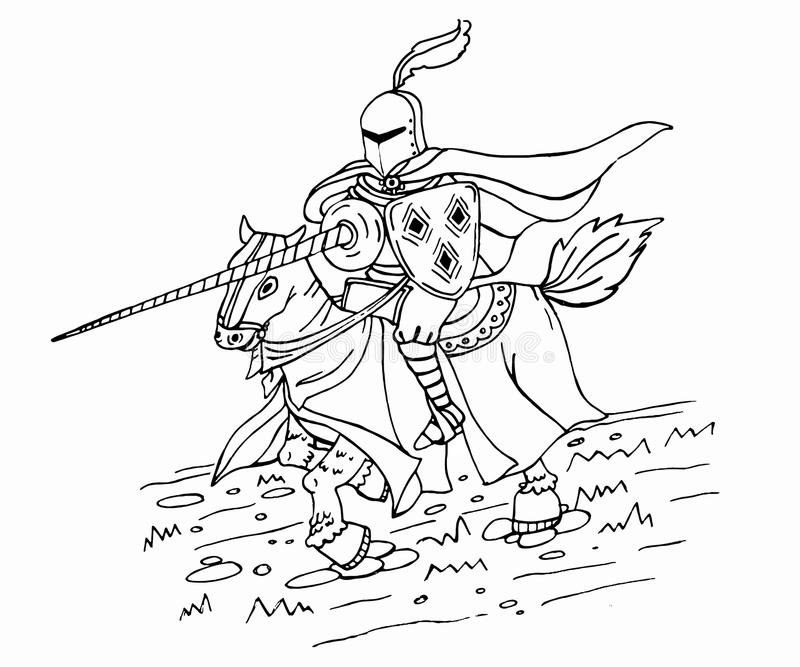 Medieval spear knight on horse. Ink illustration. Medieval spear knight on horse. Black and white isolated vector illustration. Can be used as coloring page royalty free illustration