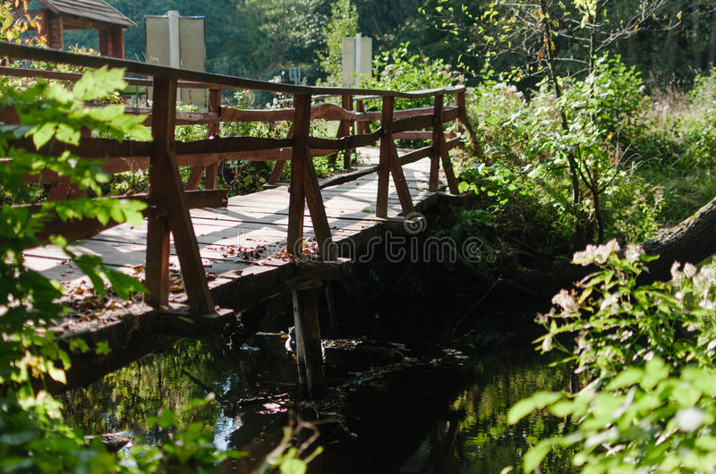 An old wood bridge through the river. Sun shines flows royalty free stock photography