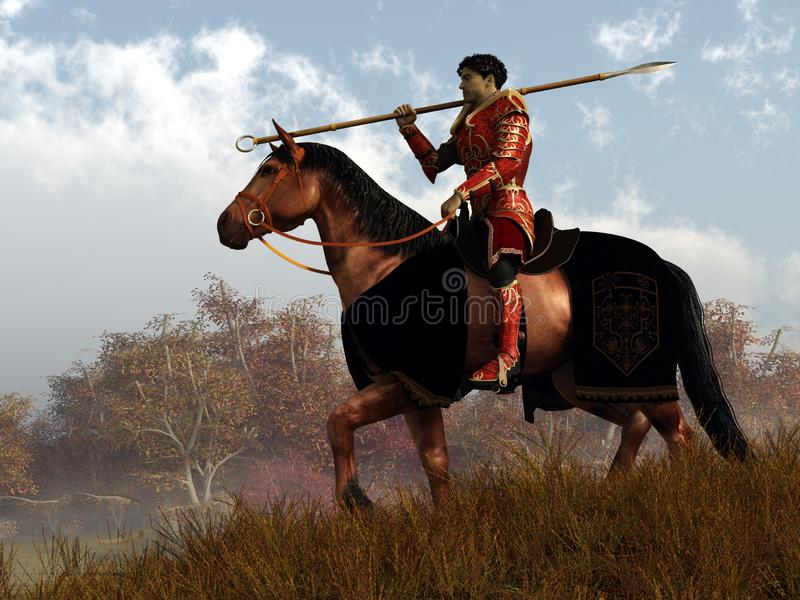 Red Knight on a Quest. A knight in red armor rides on horseback through an autumn landscape. Over his shoulder, he rests his trusty spear. 3D Rendering stock illustration