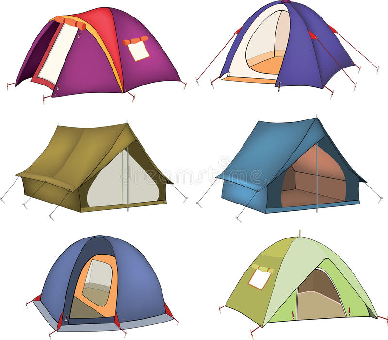 Set of tourist tents. Set of tents for rest and tourism vector illustration