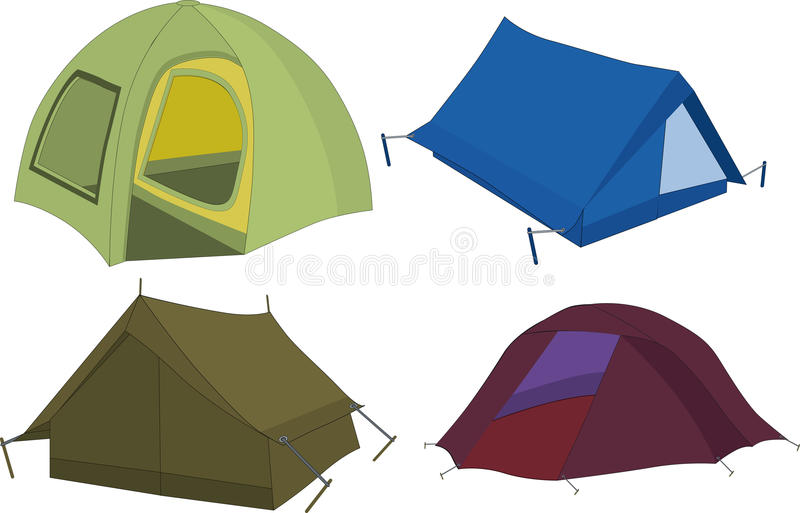 Set of tourist tents. Camping tourism stock illustration