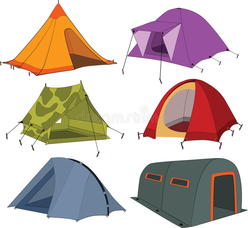 Set of tourist tents. Different colour and the size vector illustration