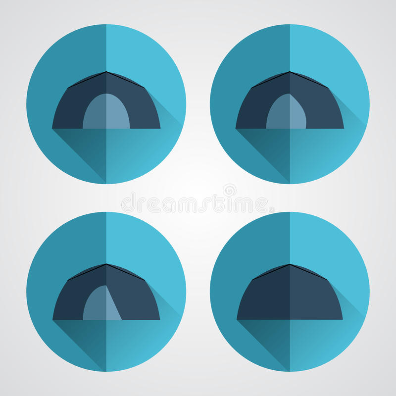 Set of tourist tents. Camping equipment. Set of tourist tents. Blue round buttons royalty free illustration
