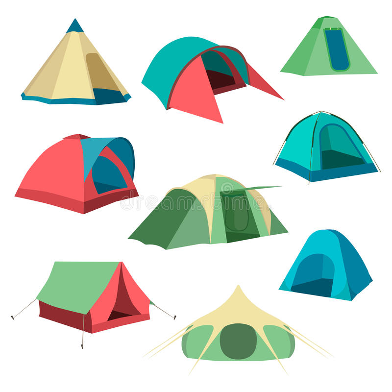 Set of tourist tents. Collection of camping tent icons. Vector illustration. Eps10 stock illustration