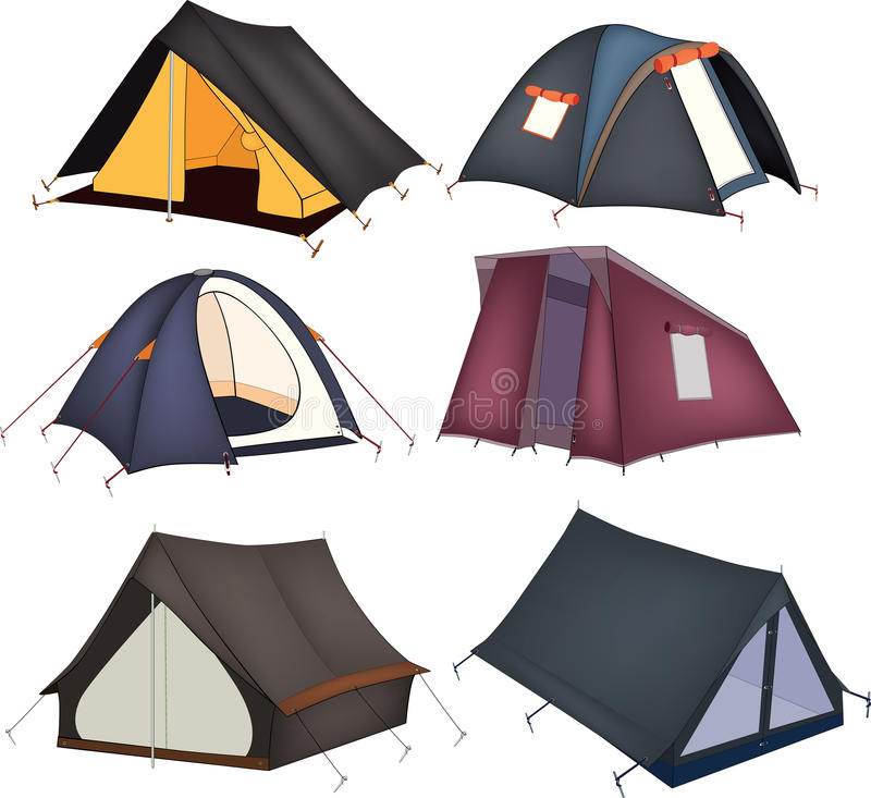 Set of tourist tents. Set of multi-coloured tents for rest stock illustration