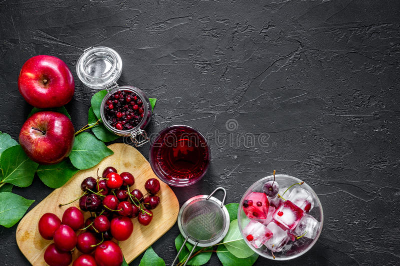 Summer ice fruit drink with apple, pulm and cranberry on black table top view copyspace royalty free stock image
