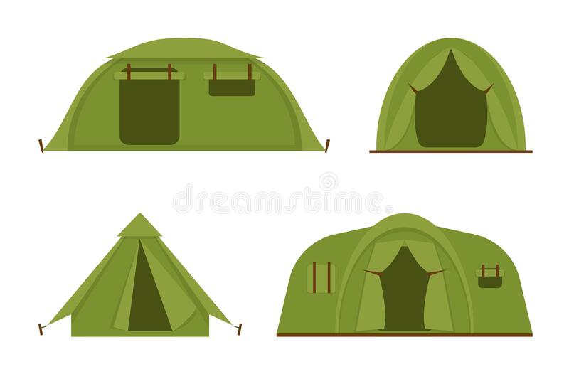 Tourist camp tents set vector icons illustration. Tourist camp tents set isolated on white background. Hiking and camping tents vector icons illustration stock illustration