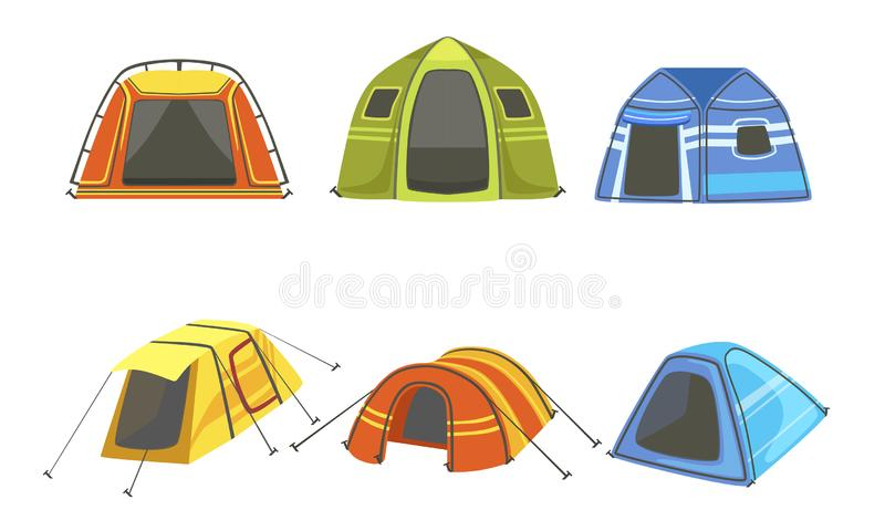Tourist Tents Set, Hiking and Camping Equipment Vector Illustration. On White Background vector illustration