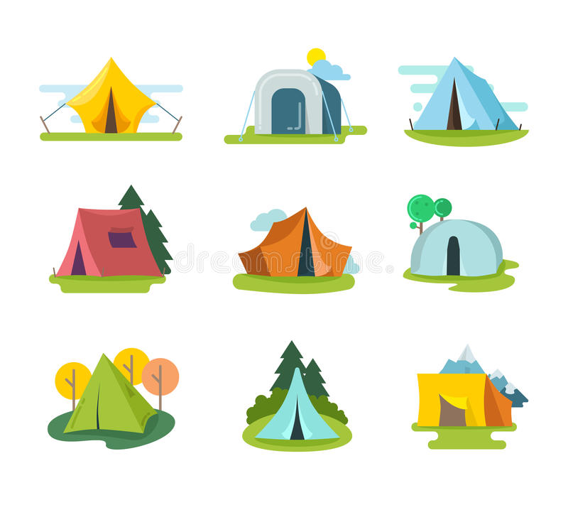 Tourist tents vector set in flat style. Recreation adventure, equipment for vacation outdoor, tourism activity illustration royalty free illustration
