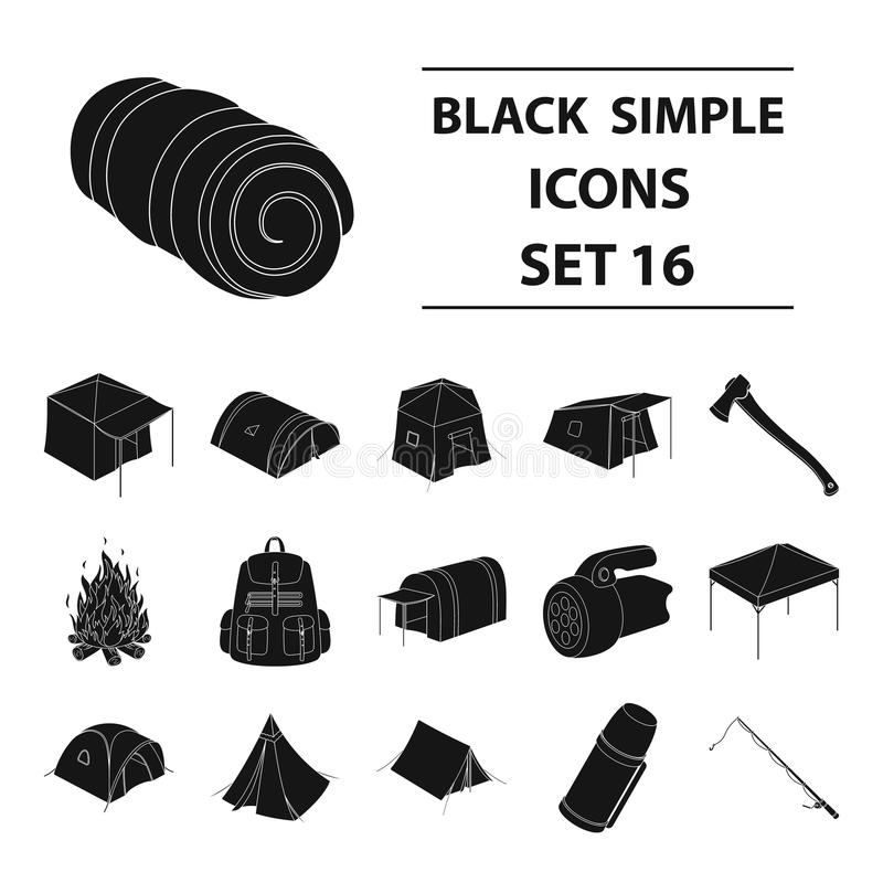 Various kinds of tents and other tourist accessories. The tent set collection icons in black style vector symbol stock. Illustration stock illustration