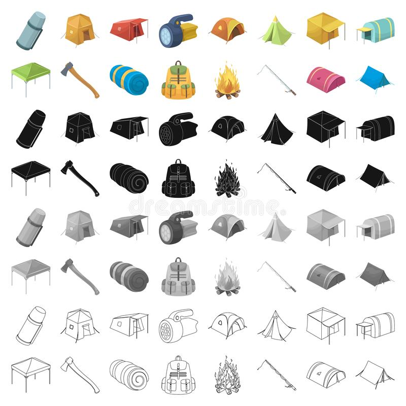 Various kinds of tents and other tourist accessories. The tent set collection icons in cartoon style vector symbol stock. Illustration royalty free illustration