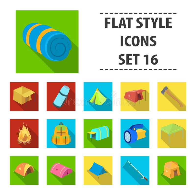 Various kinds of tents and other tourist accessories. The tent set collection icons in flat style vector symbol stock. Illustration royalty free illustration